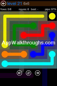 Flow Free Answers Flow Bonus Pack 6x6 Level 21 Flow